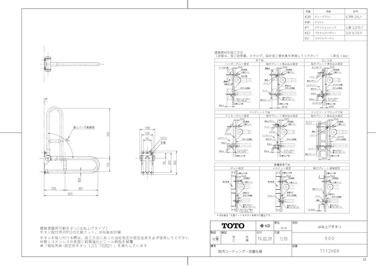 【限定セール!】 可動式手すり #P7】 はね上げ ωγ0:住宅設備機器 tkfront アテンションレッド TOTO 《TKF》 112H6R 【T-木材・建築資材・設備