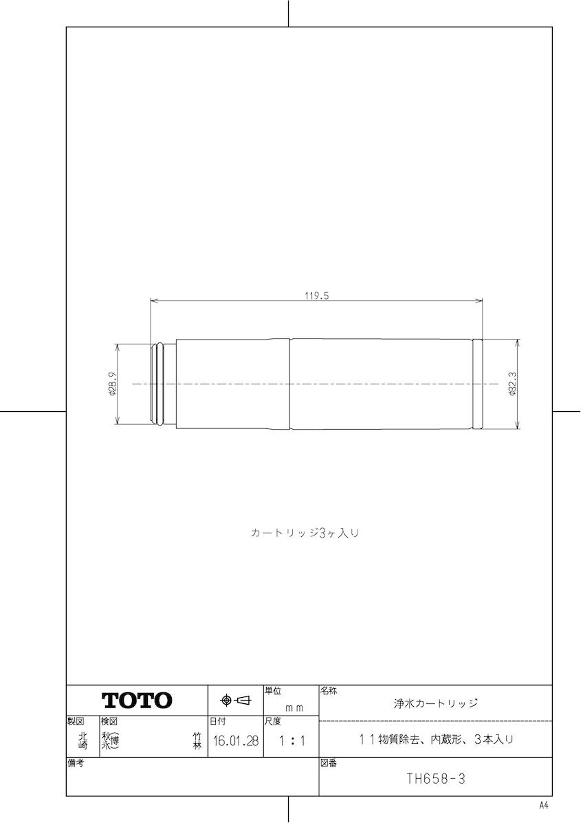 【TH658-3】 《TKF》 TOTO 浄水カートリッジ(11物質除去、内蔵形、3本入り) ωγ0