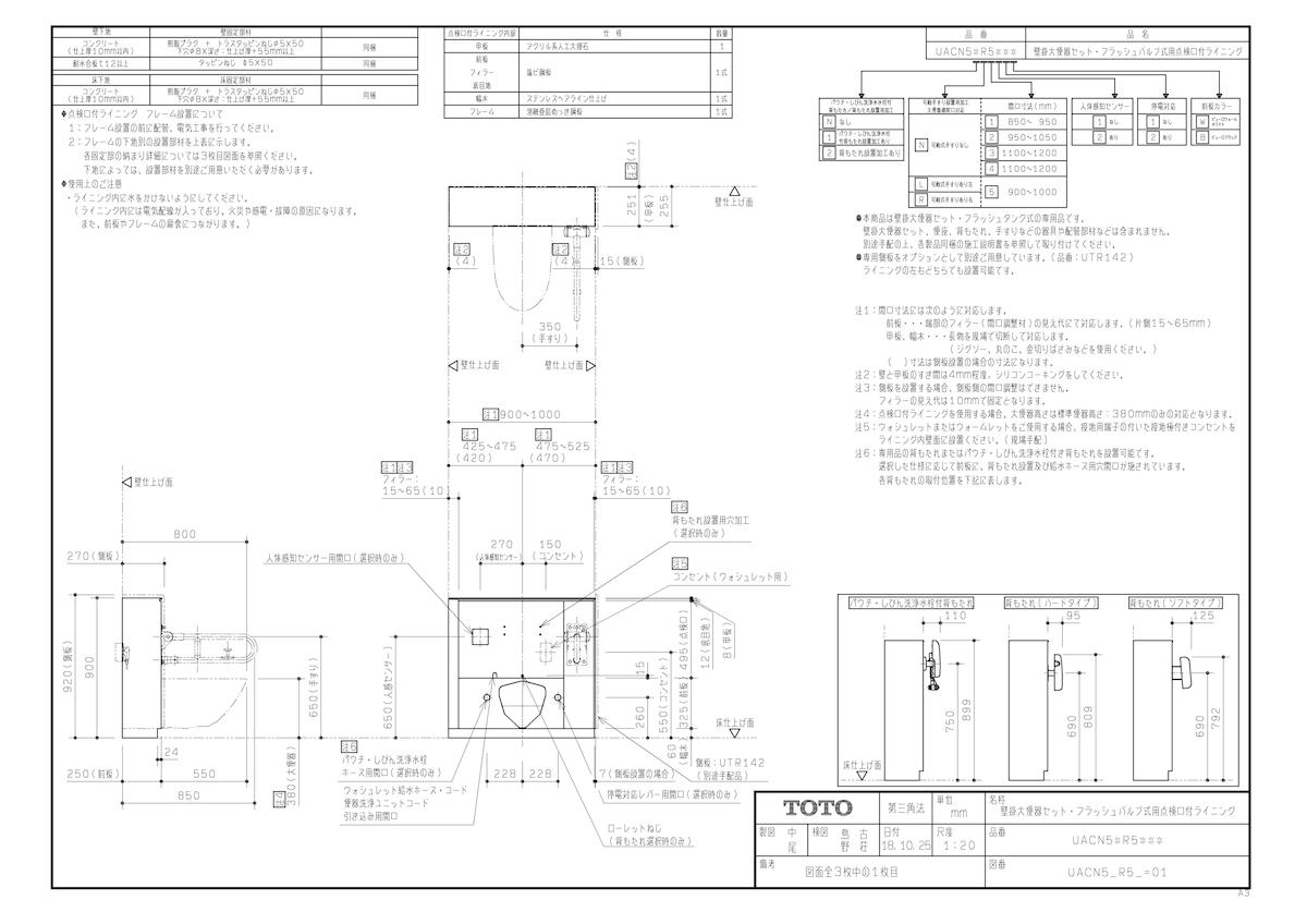 【UACN51R511W】 《TKF》 TOTO 大便器点検口付ライニング ωγ0