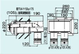 【FFTL-10-200B】 《TKF》 リンナイ 2本管直出給排気筒トップ ωα0