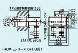 【FFTL-8US-200】 《TKF》 リンナイ 2本管直出し給排気筒トップ ωα0
