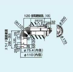 【TFW-110x75C-200C(K)L】 《TKF》 リンナイ 給排気筒トップ(直排専用) ωα0