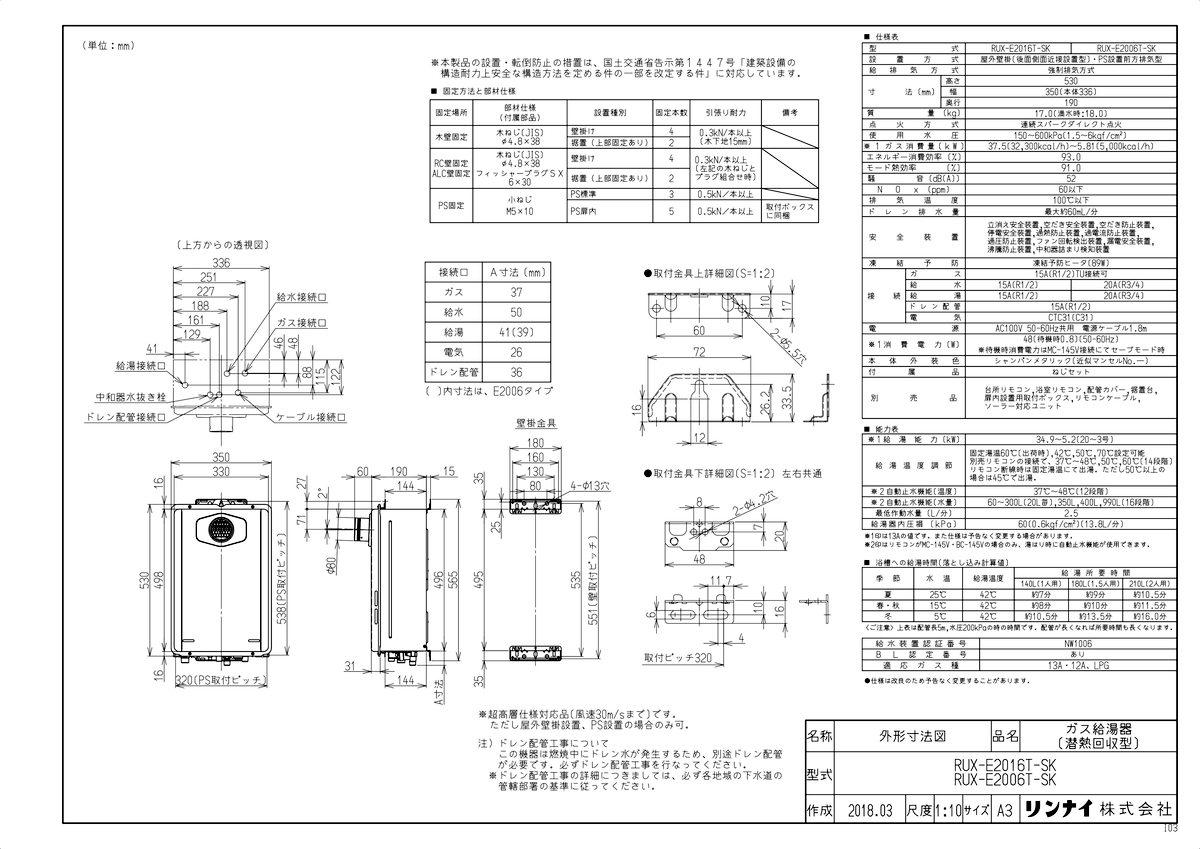 【RUX-E2016T-SK】 《TKF》 リンナイ 給湯専用ガス給湯器 20号 PS扉内設置型/前排気 エコジョーズ ωα0