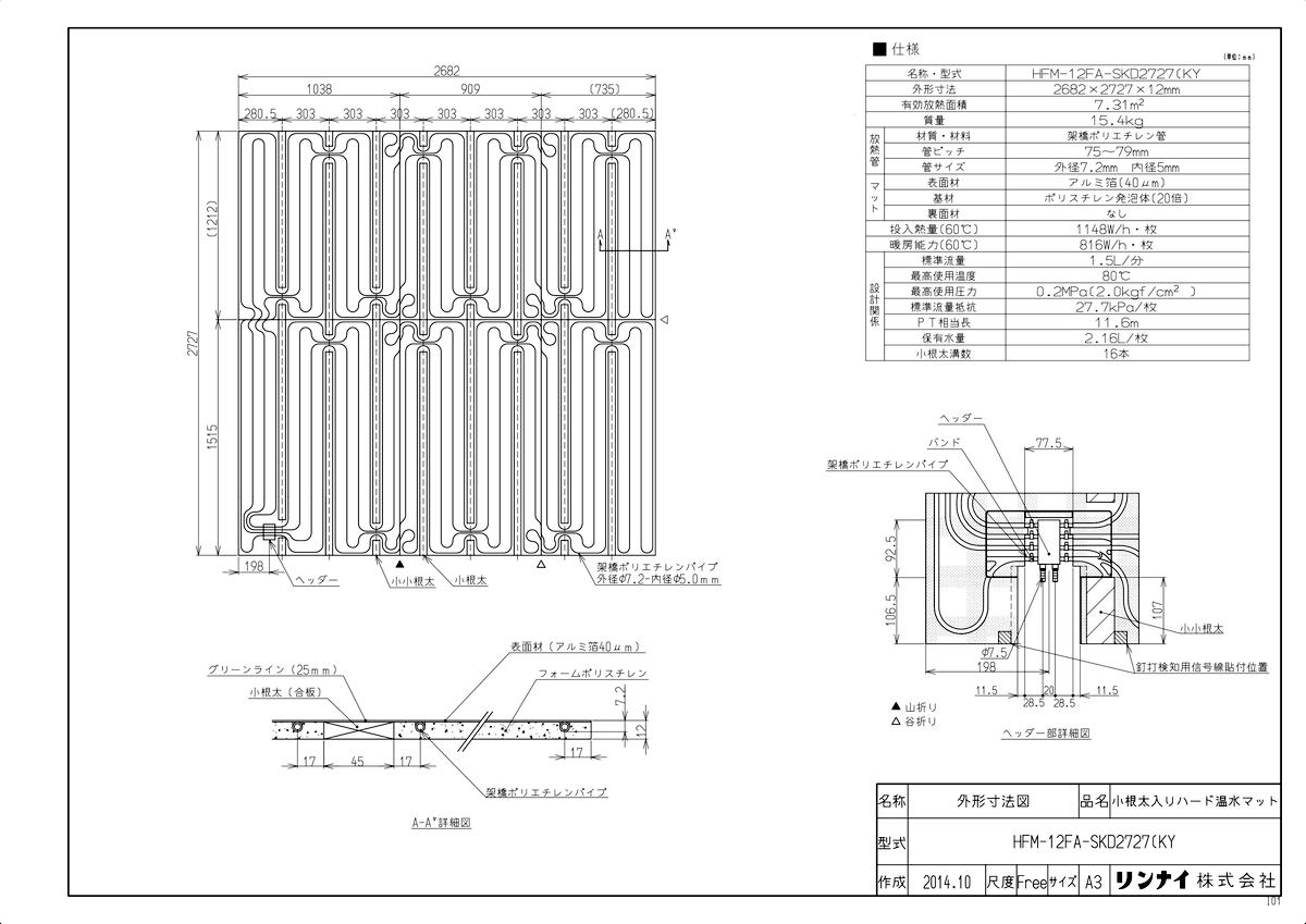 【HFM-12FA-SKD2727(KY】 《TKF》 リンナイ 床暖房 小根太入り温水マット 新築向け 水温60度 ωα0