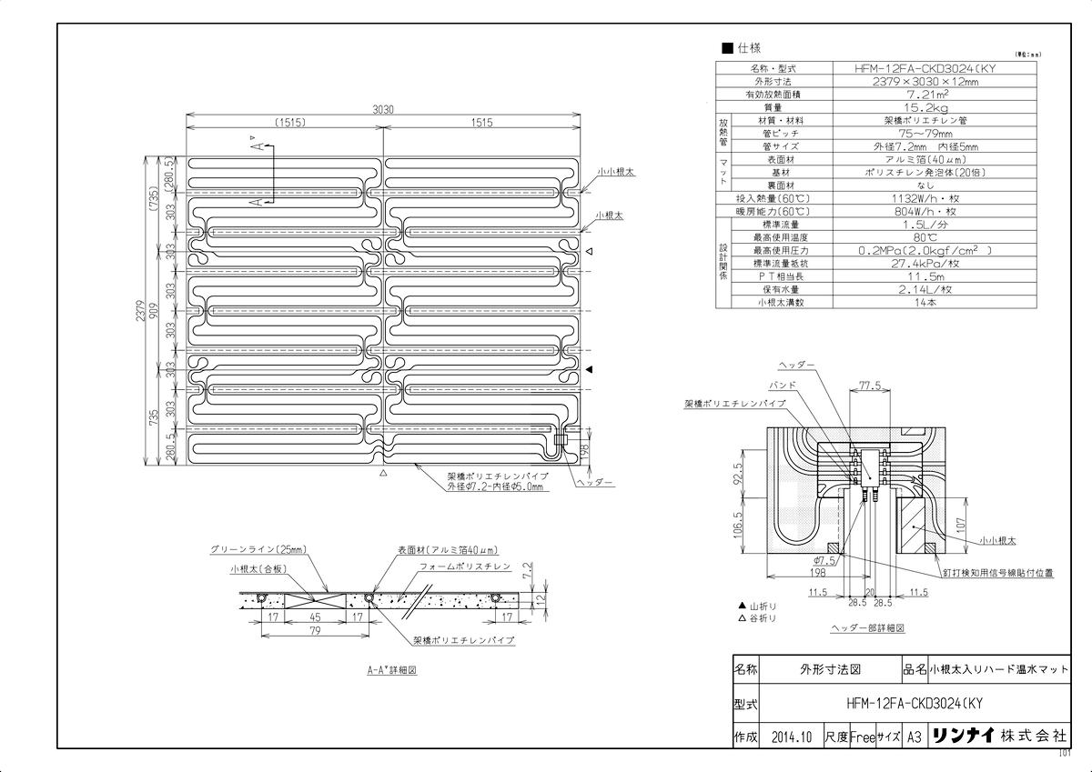 【HFM-12FA-CKD3024(KY】 《TKF》 リンナイ 床暖房 小根太入り温水マット 新築向け 水温60度 ωα0