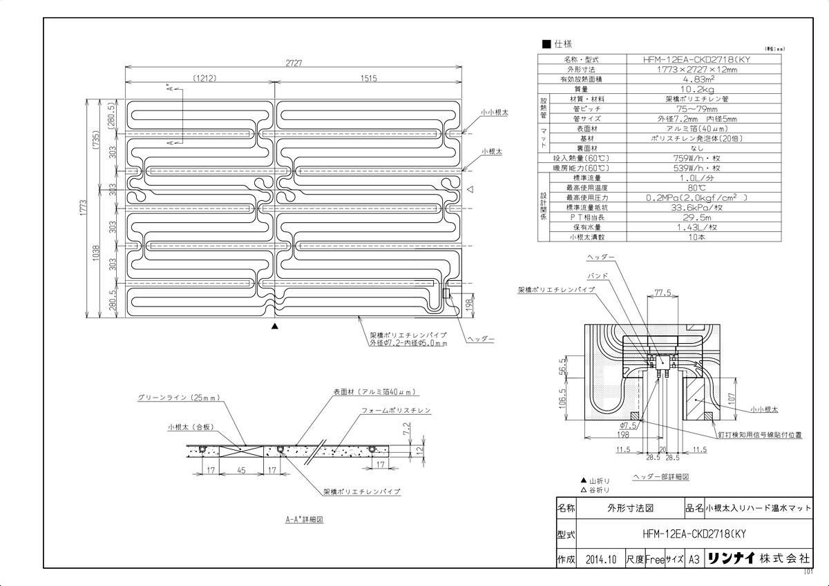 【HFM-12EA-CKD2718(KY】 《TKF》 リンナイ 床暖房 小根太入り温水マット 新築向け 水温60度 ωα0