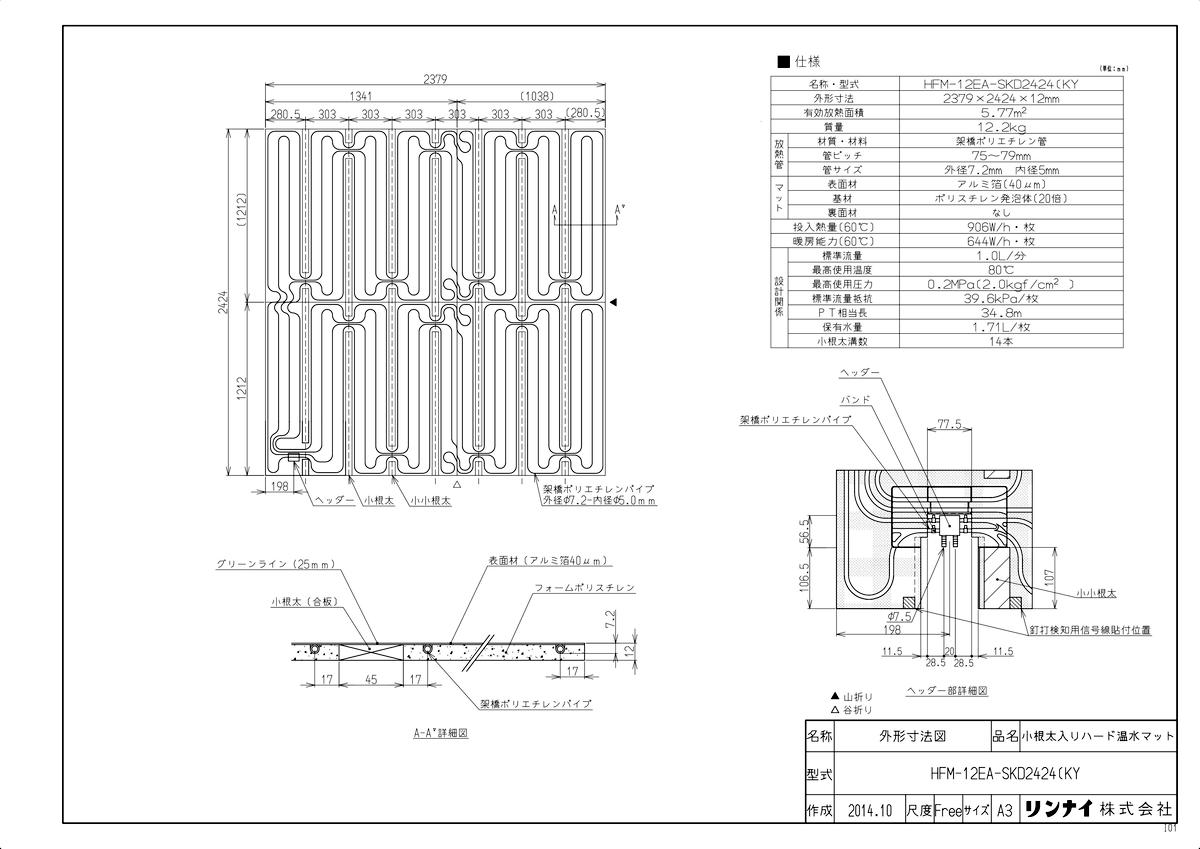 【HFM-12EA-SKD2424(KY】 《TKF》 リンナイ 床暖房 小根太入り温水マット 新築向け 水温60度 ωα0