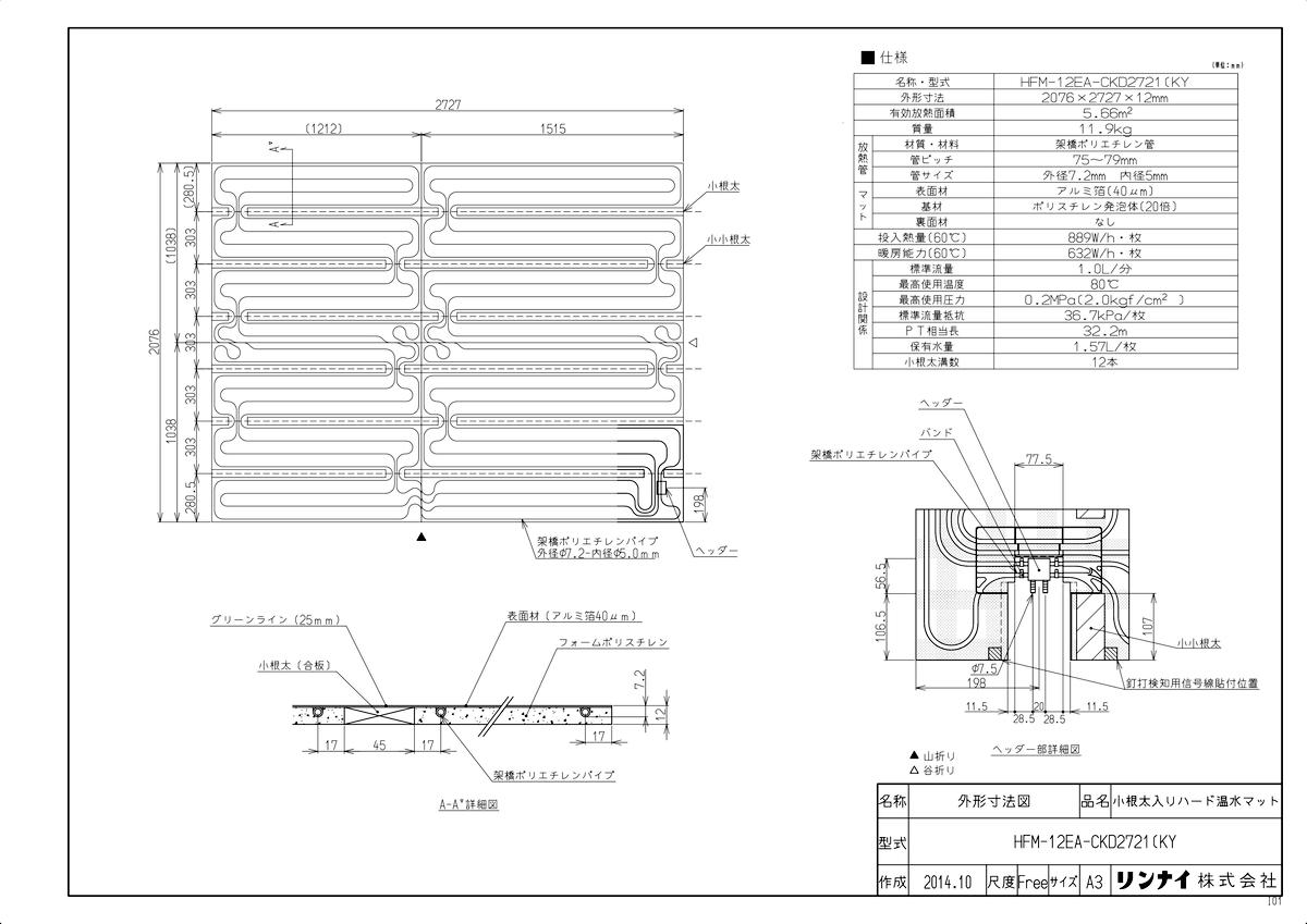 【HFM-12EA-CKD2721(KY】 《TKF》 リンナイ 床暖房 小根太入り温水マット 新築向け 水温60度 ωα0