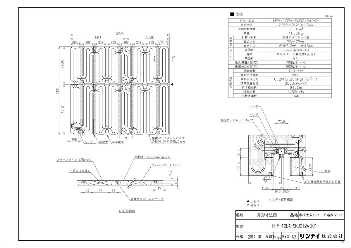 HFM-12EA-SKD2124 KY 《TKF》 新作多数 リンナイ 床暖房 小根太入り温水マット 通信販売 新築向け 水温60度 ωα0