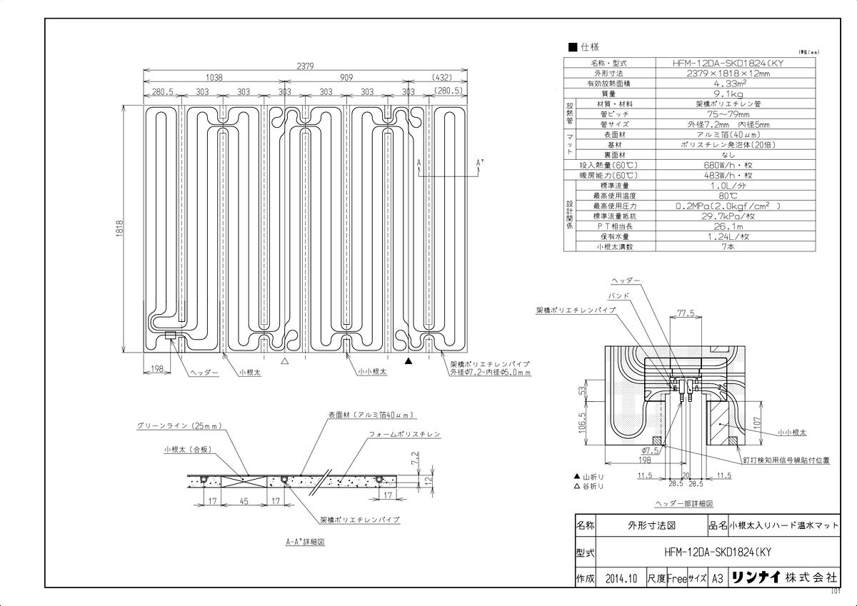 【HFM-12DA-SKD1824(KY】 《TKF》 リンナイ 床暖房用温水パネル ωα0