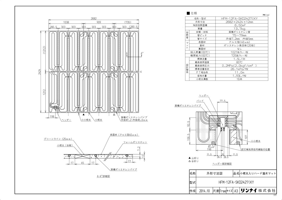 【HFM-12FA-SKD2427(KY】 《TKF》 リンナイ 床暖房 小根太入り温水マット 新築向け 水温60度 ωα0