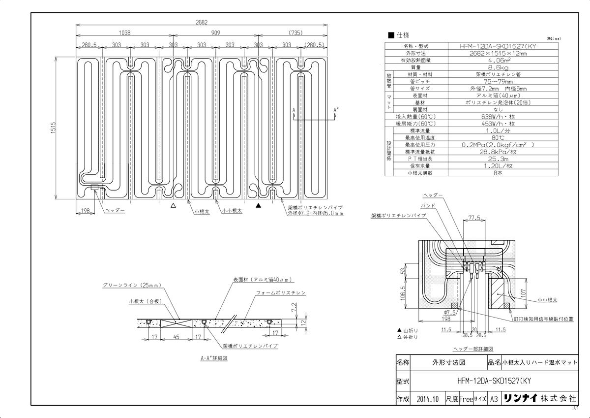 【HFM-12DA-SKD1527(KY】 《TKF》 リンナイ 床暖房 小根太入り温水マット 新築向け 水温60度 ωα0