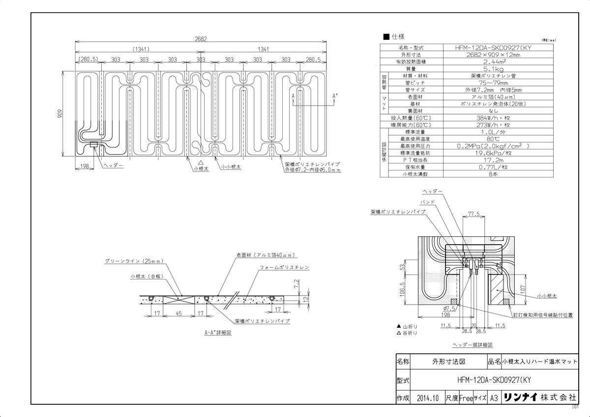 【HFM-12DA-SKD0927(KY】 《TKF》 リンナイ 床暖房 小根太入り温水マット 新築向け 水温60度 ωα0