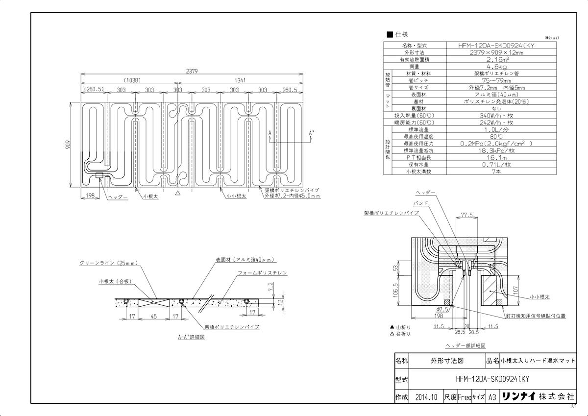 【HFM-12DA-SKD0924(KY】 《TKF》 リンナイ 床暖房 小根太入り温水マット 新築向け 水温60度 ωα0
