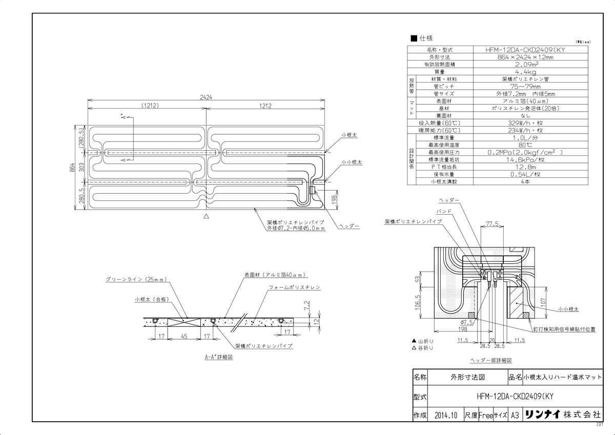 【HFM-12DA-CKD2409(KY】 《TKF》 リンナイ 床暖房 小根太入り温水マット 新築向け 水温60度 ωα0