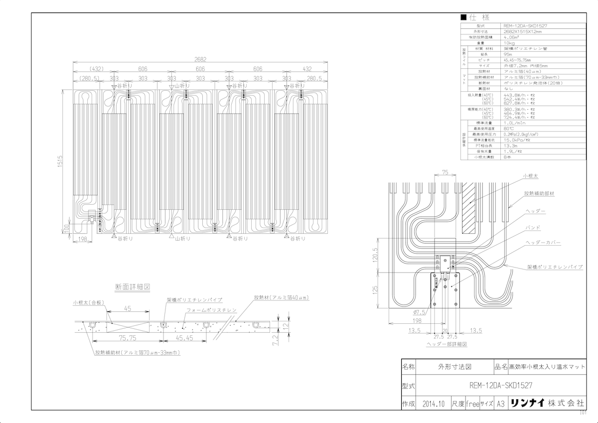 【REM-12DA-SKD1527】 《TKF》 リンナイ 床暖房 高効率小根太入り温水マット 新築向け 水温40度 ωα0