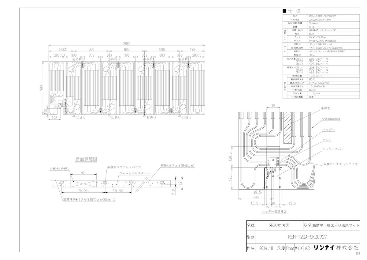 【REM-12DA-SKD0927】 《TKF》 リンナイ 高効率床暖房温水マット REM-12DA [25-4270] ωα0