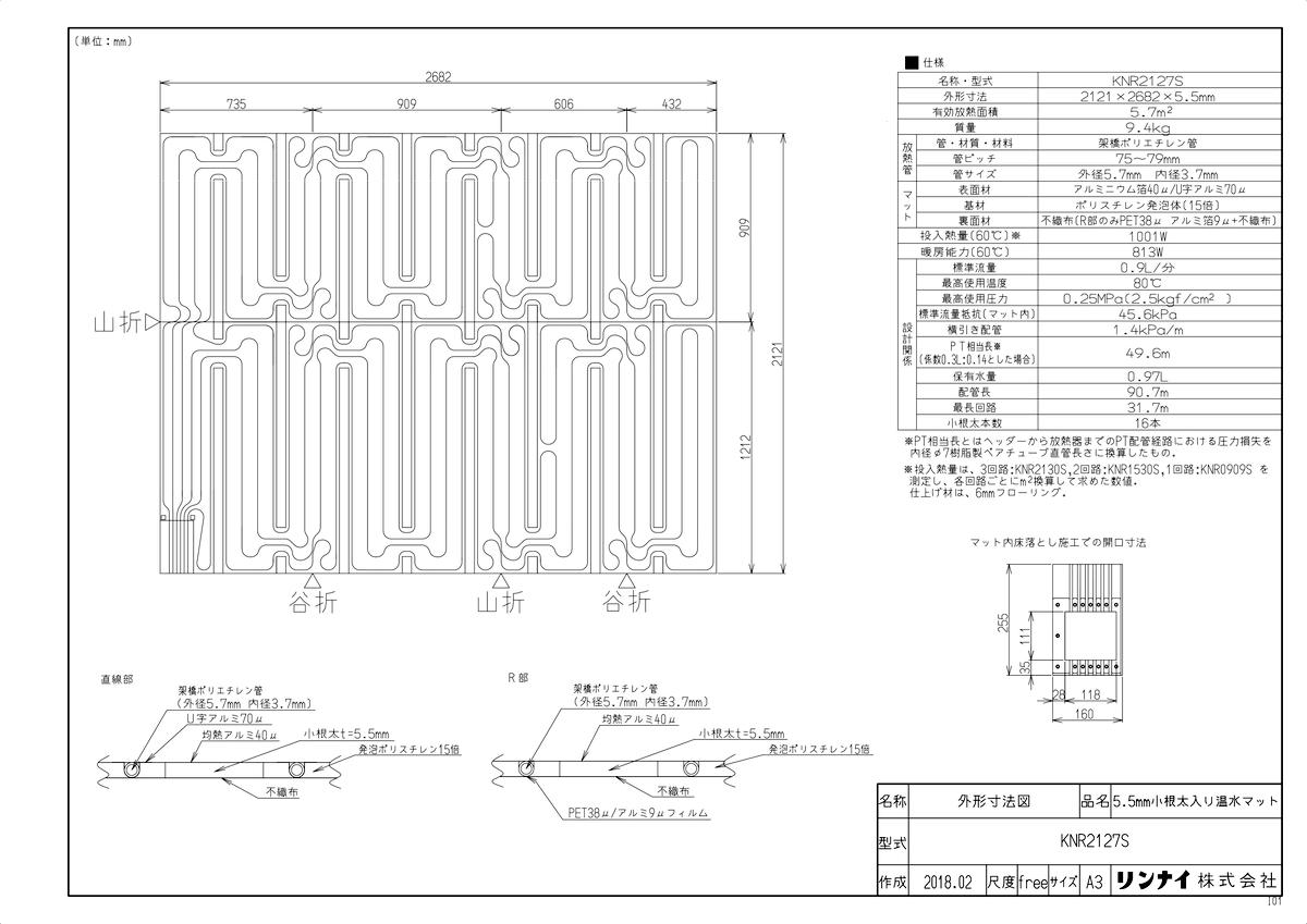 【KNR2127S】 《TKF》 リンナイ 床暖房 小根太入り温水マット リフォーム向け 水温55度 3回路 ωα0