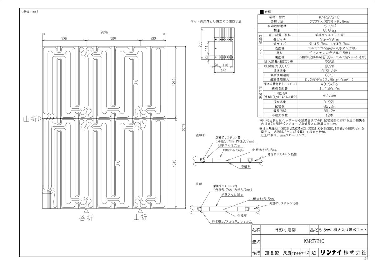 【KNR2721C】 《TKF》 リンナイ 床暖房 小根太入り温水マット リフォーム向け 水温55度 3回路 ωα0