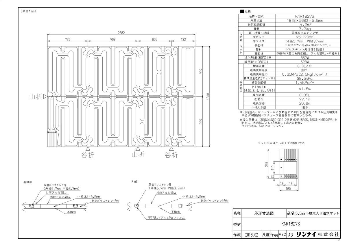 【KNR1827S】 《TKF》 リンナイ 床暖房 小根太入り温水マット リフォーム向け 水温55度 3回路 ωα0