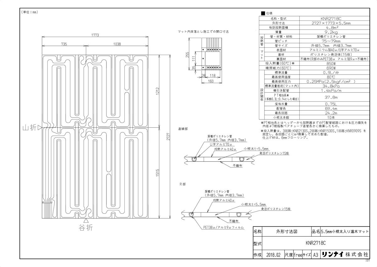 【KNR2718C】 《TKF》 リンナイ 床暖房 小根太入り温水マット リフォーム向け 水温55度 3回路 ωα0