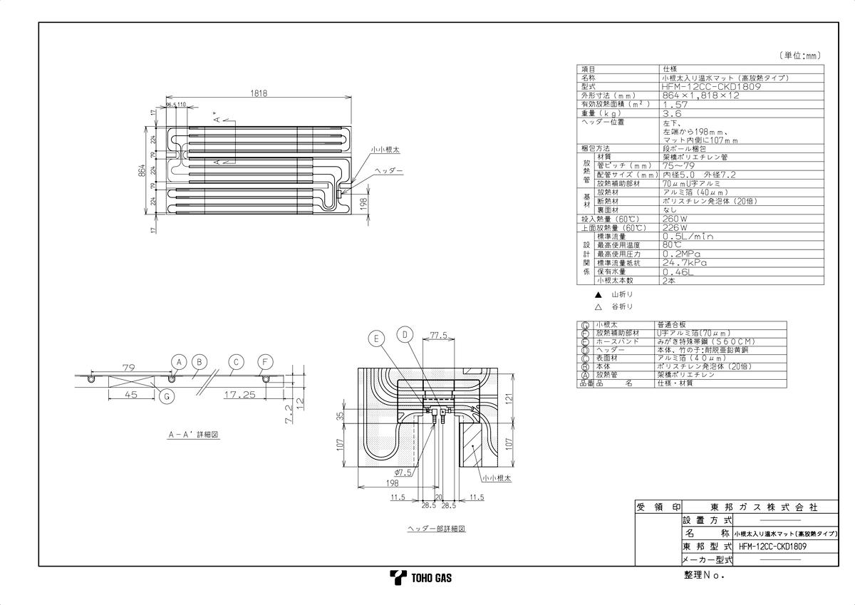 【HFM-12CC-CKD1809】 《TKF》 リンナイ 温水式床暖房マット ωα0