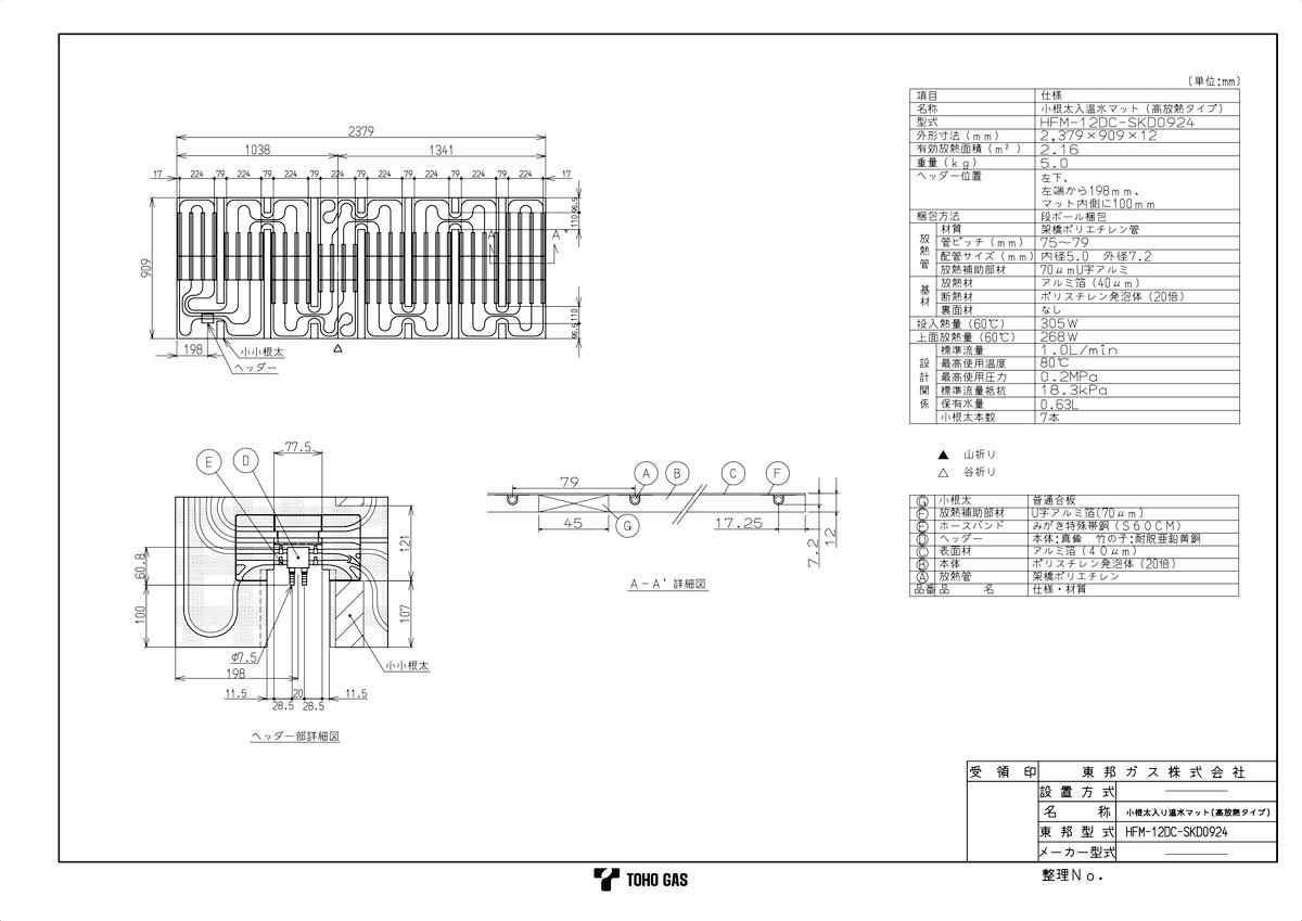 【HFM-12DC-SKD0924】 《TKF》 リンナイ 温水式床暖房マット ωα0