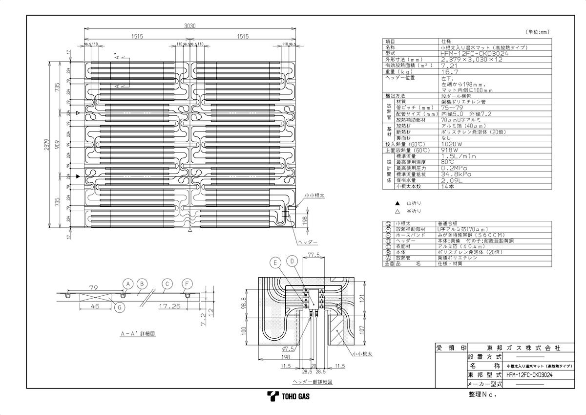 【HFM-12FC-CKD3024】 《TKF》 リンナイ 温水式床暖房マット ωα0