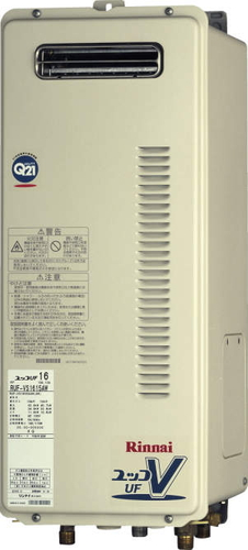 【RUF-VS1615SAW】 《TKF》 リンナイ ガス給湯器 16号 スリムタイプ 屋外壁掛型 オート ωβ0