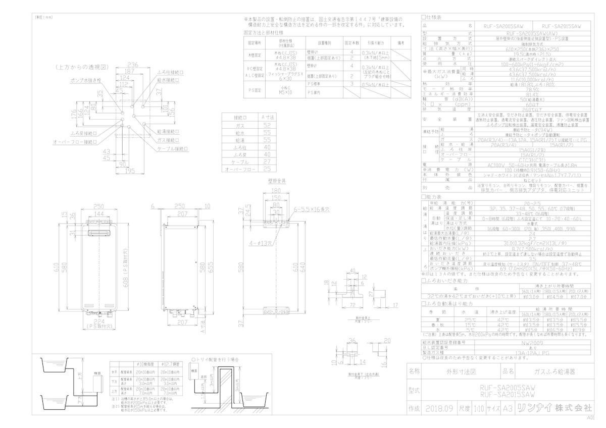 【RUF-SA2015SAW】 《TKF》 リンナイ ガスふろ給湯器 屋外壁掛型 20号 オート 接続口15A 〔旧品番:RUF-VS2015SAW〕 ωβ0