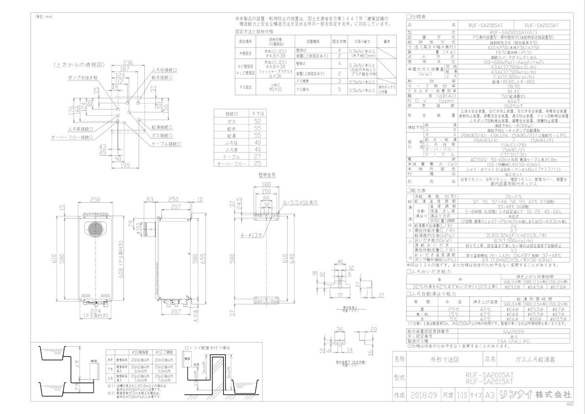【RUF-SA2005AT】 《TKF》 リンナイ ガスふろ給湯器 PS扉内設置型 20号 フルオート 接続口20A ωβ0