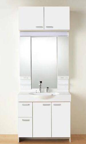 【LQBBL-090AYWN LPAM-093LHA スクエア取手】 《TKF》 ノーリツ 洗面化粧台 ソフィニア 間口900タイプ 洗面化粧台+3面鏡 ωμ1