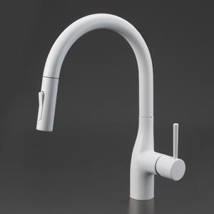 【KM6061ECM4】 《TKF》 KVK グースネックシングルレバー式シャワー付混合栓(eレバー)ホワイト ωζ0