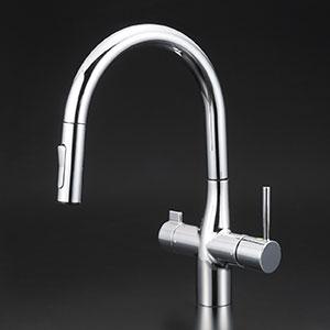 【KM6081SCEC】 《TKF》 KVK 浄水器付グースネックシングルレバー式シャワー付混合栓(eレバー)(Z38450付)吐水口回転規制160° ωζ0