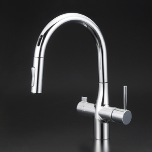 【KM6091EC】 《TKF》 KVK センサー付浄水器専用グースネックシングルレバー式シャワー付混合栓(eレバー) ωζ0