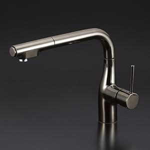 【KM6101ECBN】 《TKF》 KVK L型シングルレバー式シャワー付混合栓(eレバー)黒ニッケル 吐水口回転規制160° ωζ0