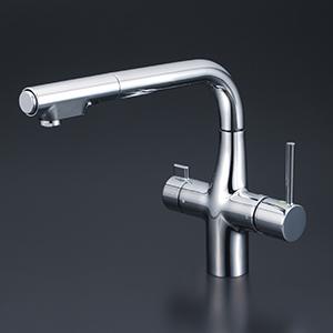 【KM6121STEC】 《TKF》 KVK 浄水器付シングルレバー式シャワー付混合栓(eレバー)(Z351565付) ωζ0