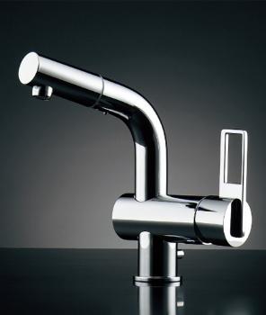 【184-023K】 《TKF》 カクダイ シングルレバー引出し混合栓(排水上部セットつき) ωσ0