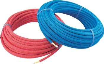 【672-110-50B】 《TKF》 カクダイ 保温材つき架橋ポリエチレン管(青) 10A ωσ0