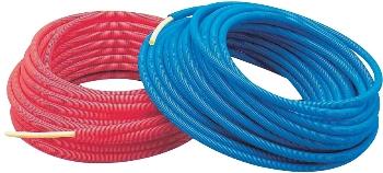 【672-131-50B】 《TKF》 カクダイ サヤ管つき架橋ポリエチレン管(青) 10A×22 ωσ0