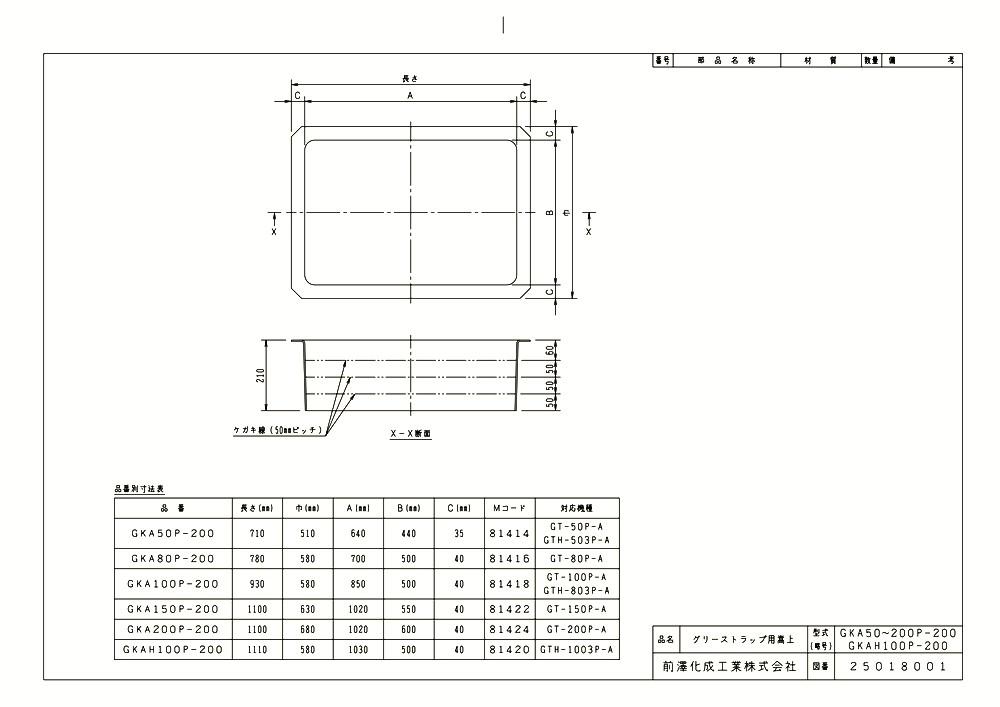 【KAH100P-200】 《TKF》 マエザワ FRP製グリーストラップ用嵩上 GKAH型 ωε1