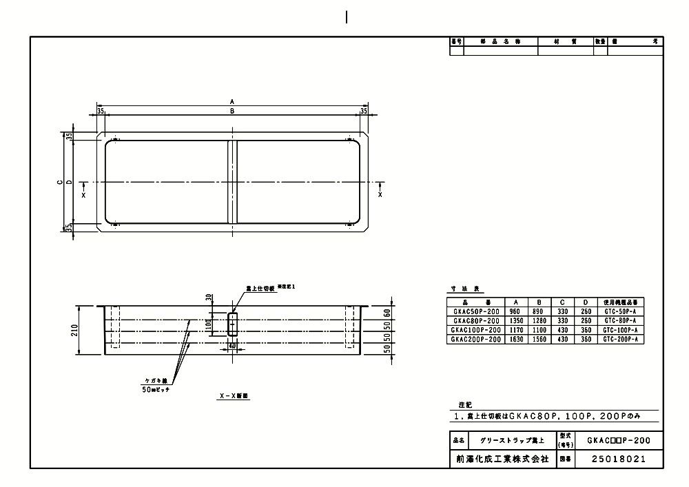 【GKAC100P-200】 《TKF》 マエザワ FRP製グリーストラップ用嵩上 GKAC型 ωε1