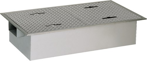 【GTS-100SLSUS蓋受座付】 《TKF》 マエザワ SUS製グリーストラップ 側溝流入超浅型 GTS-SL ωε1