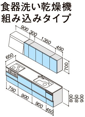 【ラクエラコンフォートシリーズ】《TKF》クリナップシステムキッチンI型間口300cmスライド収納食器洗い乾燥機組み込み仕様TGシンクωγ1
