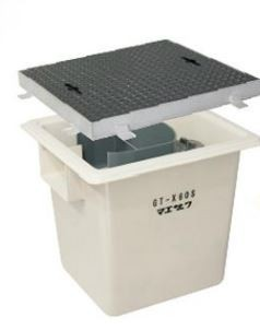 【GT-X60S 鉄蓋付】 《TKF》 マエザワ GT-X 側溝流入式 FRP製 グリーストラップ ωε1