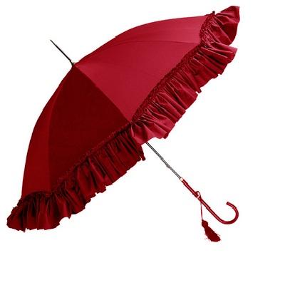 フォックスアンブレラ foxumbrella スリムレザー ハンドル ディープフリル レディース WL9 Slim Leather Handle DEEP FRILL Red レッド 赤 レディース 婦人傘