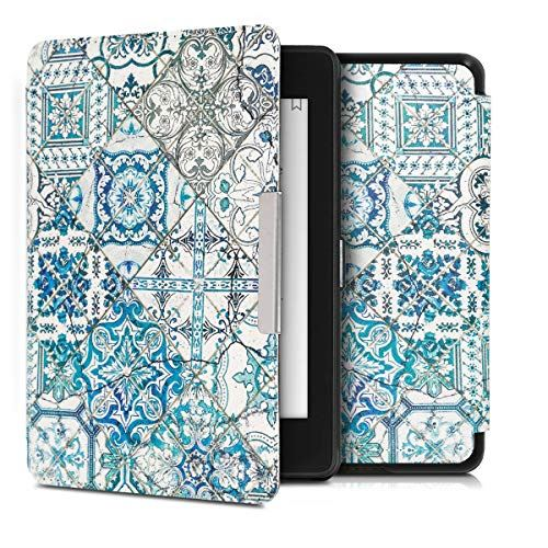 kwmobile 対応: Amazon Kindle Paperwhite 通信販売 10. Gen - 2018 オートスリープ PUレザー タイル単色デザイン Reader 保護 爆買い新作 ケース モロッカン 電子書籍カバー
