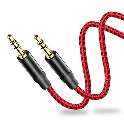 LiuTian 3.5 mmナイロン編組AUXケーブル 8m 正規品 Hi-Fiサウンド オーディオ補助入力アダプターオス-オスAUXコード ヘッドフォン 車 ブラック ホームステレオ エコーなどレッド iPod スピーカー iPhone 贈答 iPad