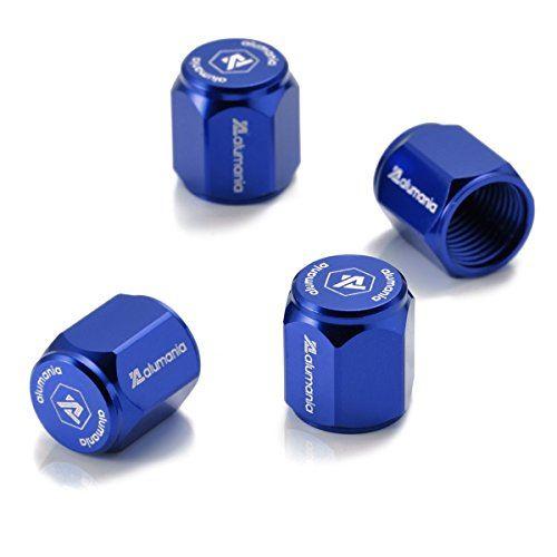 ランキングTOP10 alumania エアバルブキャップ アルミフルビレット HEX-SHORT-STD 4個セット BLUE ついに再販開始