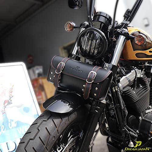 Dream-Japan 本物 バイク ツールバッグ ワンタッチ型 黒 ブラック 内ポケット付き 簡単取り付け 値引き ハーレー マグナ アメリカン 当店オリジナル 工具入 小物入れ 白ステッチ